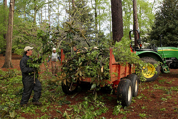 The Augusta National grounds crew had to clean up debris around the course after thunderstorms rolled through overnight.