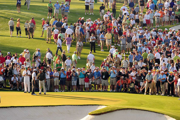 Patrons were already swarming Tiger's group shortly after 8 a.m.