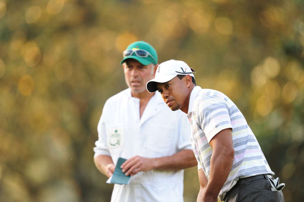 Woods arrived at Augusta on Sunday, and he played the back nine with Mark O'Meara.