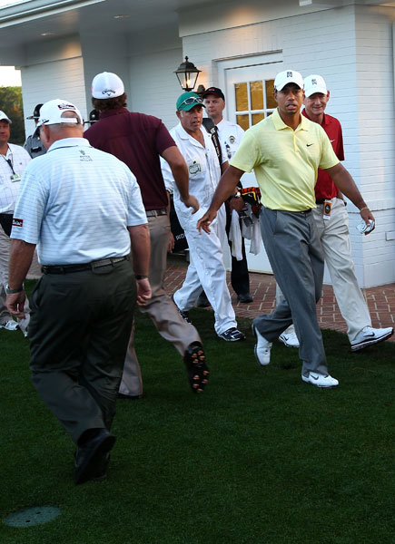 Woods and Mickelson passed each other before teeing off.