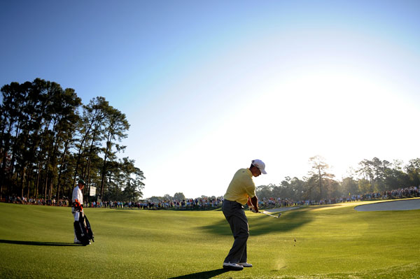 was back early Tuesday morning for another practice round at Augusta National.