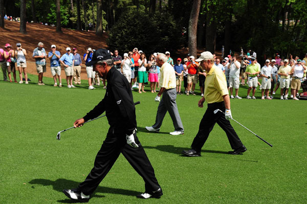 were together again on Wednesday in the annual Par-3 Contest at the Masters.