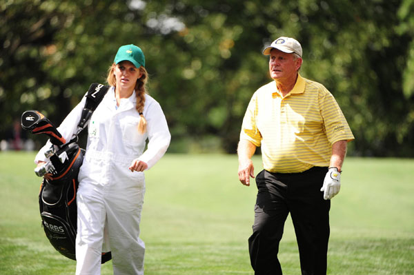 Nicklaus brought his granddaughter Christie to caddie for him.