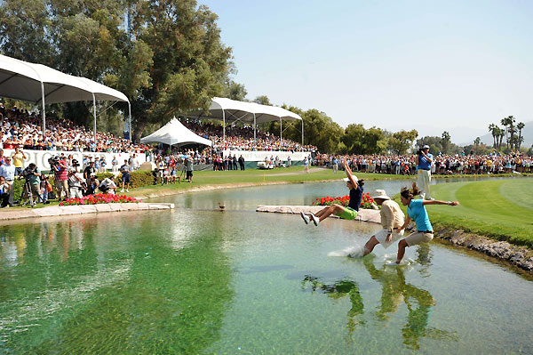 Ochoa took a dip in the lake surrounding the 18th green after winning the first major of the year, the Kraft Nabisco Championship.