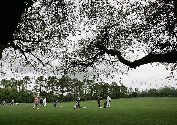 Several players got some practice in on the driving range Sunday. • Complete Coverage from Augusta                           • Great photos from the Masters                           • Panoramic shots of Augusta National
