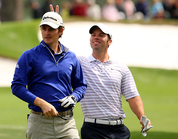 Paul Casey gave Justin Rose some rabbit ears during their practice round.