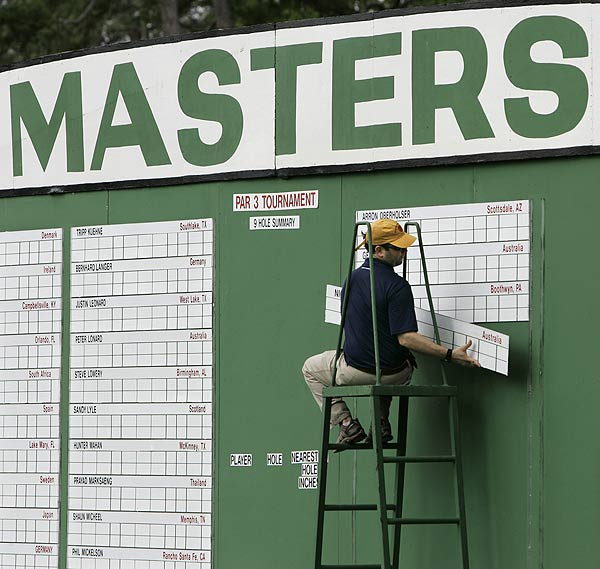 The scoreboard was being prepped for the par-3 tournament that takes place on Wednesday. • The story behind the Par-3 Tournament