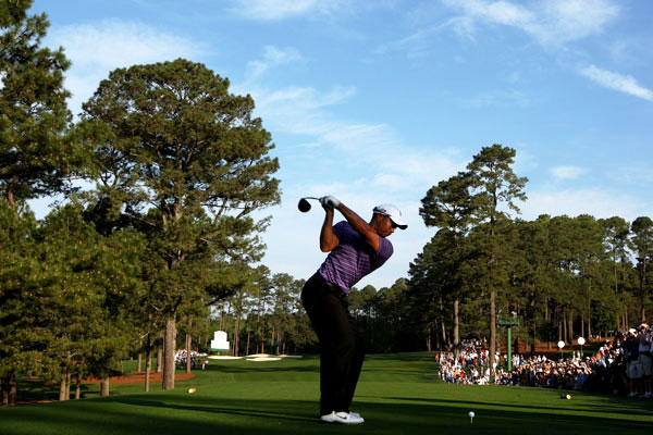 teed off at 8 a.m. Wednesday for his final practice round before the start of the 2010 Masters.