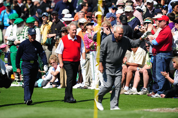 "2009 Masters Par-3 TournamentArnold Palmer, Jack Nicklaus and Gary Player played their annual nine holes at Wednesday's Par-3 Tournament.                                                      function fbs_click() {u=""http://www.golf.com/golf/gallery/article/0,28242,1890259,00.html"";t=document.title;window.open('http://www.facebook.com/sharer.php?u='+encodeURIComponent(u)+'&t='+encodeURIComponent(t),'sharer','toolbar=0,status=0,width=626,height=436');return false;} html .fb_share_link { padding:2px 0 0 20px; height:16px; background:url(http://b.static.ak.fbcdn.net/images/share/facebook_share_icon.gif?8:26981) no-repeat top left; }Share on Facebook                                                                                                            addthis_pub             = 'golf';                            addthis_logo            = 'http://s9.addthis.com/custom/golf/golf_logo.jpg';                           var addthis_offset_top = -155;                           addthis_logo_color      = '555555';                           addthis_brand           = 'Golf.com';                           addthis_options         = 'email, facebook, twitter, digg, delicious, myspace, google, reddit, live, more'                                                                                  Share"