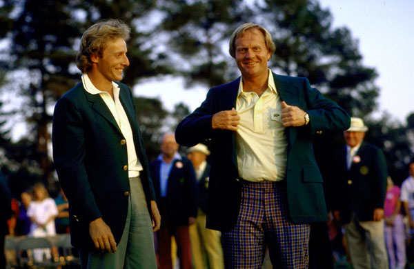 Jack Nicklaus with Bernhard Langer after the 1986 Masters. Nicklaus won at Augusta six times, but he didn't have his own green jacket until 1998. The club usually finds a jacket that will fit the champion for the ceremony, then makes him one of his own. But something fell through the cracks, and each year Nicklaus wound up borrowing a green jacket for the Champions Dinner.