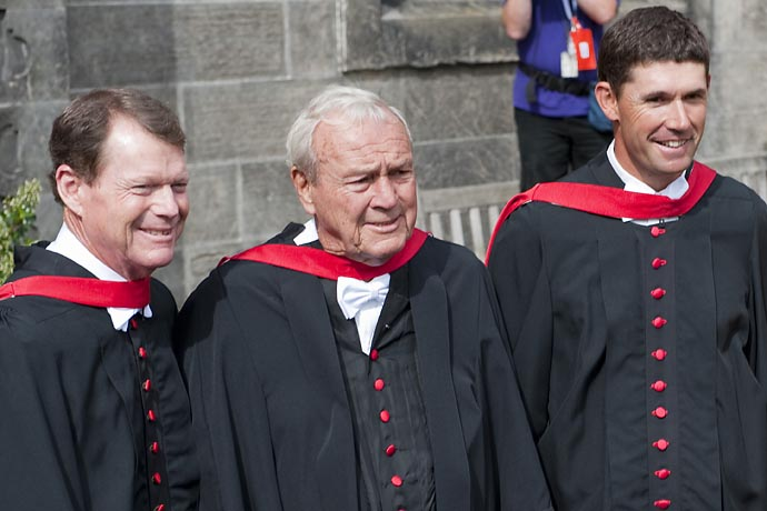 Tom Watson, Arnold Palmer and Padraig Harrington walk in a parade down the North Street in St Andrews to the grounds of the university in order for the honorary awards from the St Andrews University, prior to the 2010 Open Championship.