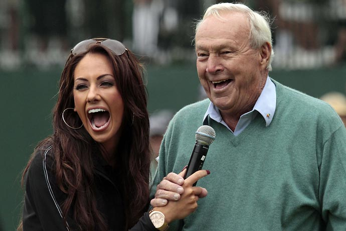 Arnold Palmer with Golf Channel Morning Drive host Holly Sonders during the Umpqua Challenge golf tournament in Portland, Ore., in August 2009.