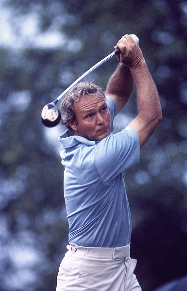 Arnold Palmer in action on Sunday at the 1973 U.S. Open at Oakmont Country Club.