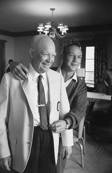 Former President Dwight D. Eisenhower and Arnold Palmer at 1965 U.S. Open at Bellerive Country Club in St. Louis.