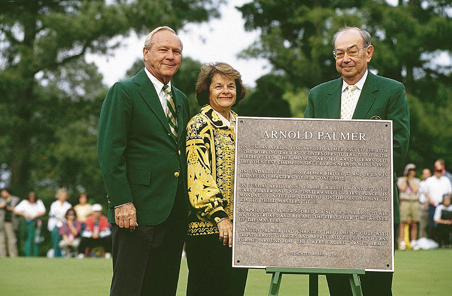 Arnold and Winnie Palmer with Augusta National Chairman Jack T. Stephens in 1995. Palmer was honored with a plaque commemorating his eagle on the 13th hole in 1958, when he won his first green jacket.