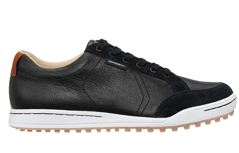 Ashworth Cardiff                       $120; ashworthgolf.com                       Ashworth's Cardiff is the company's first foray into footwear since the early 1990s. A crossover shoe made from tumbled leather and suede, the Cardiff offers great performance on the course and enough style that no one will notice when you sprint back to the office after a quick nine.