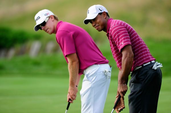 played a practice round Tuesday morning with last week's winner Hunter Mahan, left, and Sean O'Hair.