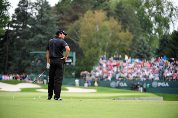 2008 PGA Championship                           Oakland Hills Country Club                           Bloomfield Township, Michigan                                                      Garcia was again in position to win his first major championship, and again he lost to Harrington, this time at the 2008 PGA Championship. Garcia made a bogey on 16 after hitting his second shot in the water. Harrington then made clutch putts on 16, 17 and 18 to win by two.