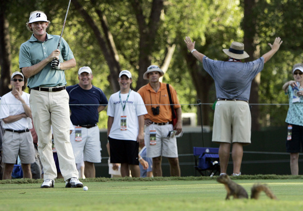Brandt Snedeker had to wait for a squirrel to get out of the way before taking his shot on the fourth tee. He shot 71 in his second round.
