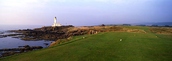 Hole No. 9                           Turnberry (Ailsa)                           Turnberry, Scotland                           9th hole; par 4, 454 yards                                                      This is about as thrilling a setting for a links hole as you'll find anywhere. The back tee is set on an isolated rocky promontory, where just keeping your balance in a gale can be a challenge. What awaits is a drive that must carry 200 yards of rocks, sea and beach and an ornery landing area that deflects balls with utter disdain for the quality of the tee shot. With a lighthouse to the left and the ruins of Robert the Bruce's Castle nearby, it's hard to top this hole for lore and shot-making demands.