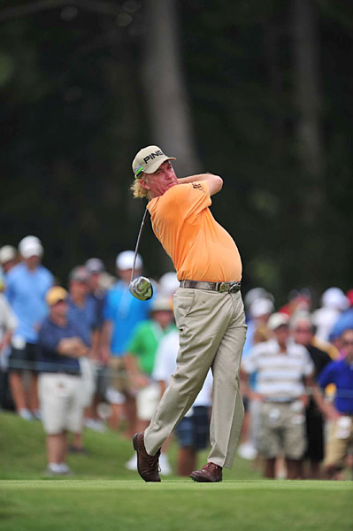 Miguel Angel Jimenez was one under through eight holes but struggled from there on out, also finishing with a 73.