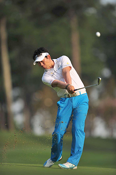 Y.E. Yang also shot a three-over 73 on Friday.