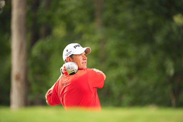 Lee Westwood was two under for the day until a double bogey on No. 14. He shot even par.
