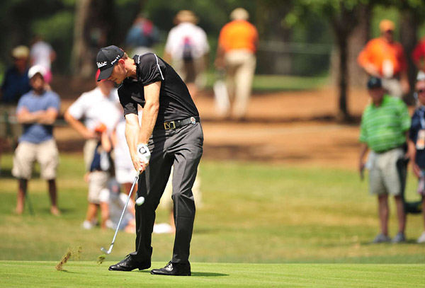 Brendan Steele was a co-leader at the start of the day, but he quickly fell out of contention, ending with a 77.