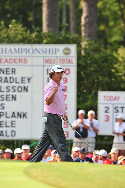 Jason Dufner converted a long two-putt on the 18th green to make par and force a playoff with Bradley.