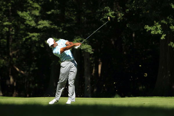 was in the lead until he made four bogeys on his second nine to finish with a 73.