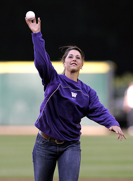 While she was at the University of Washington, Paige Mackenzie threw out the first pitch at a Rays/Mariners game in 2006.