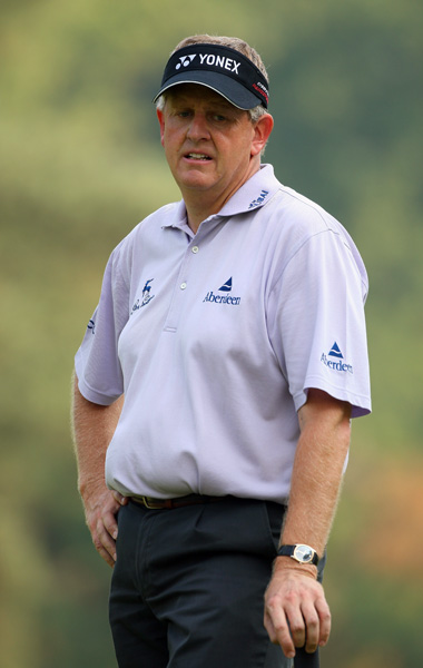 Colin Montgomerie had a wild round which included four birdies, three bogeys, two double bogeys, and an eagle on the par-4 17th. Montgomerie finished at one over.