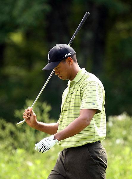 Round 1 of the Deutsche Bank Championship                                              Tiger Woods had a terrible start, making a bogey on the par-5 second hole. Woods then made a double bogey on No. 4 after leaving two shots in a greenside bunker.
