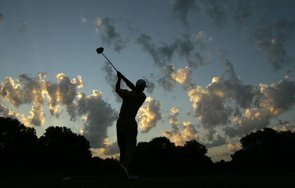 Tiger Woods started his practice round Tuesday as the sun came up at Southern Hills.