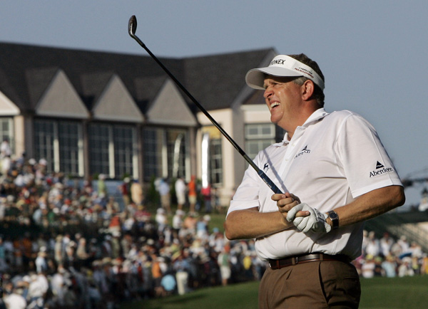 Colin Montgomerie opened with three early birdies, but closed with three bogeys for a two-over 72.