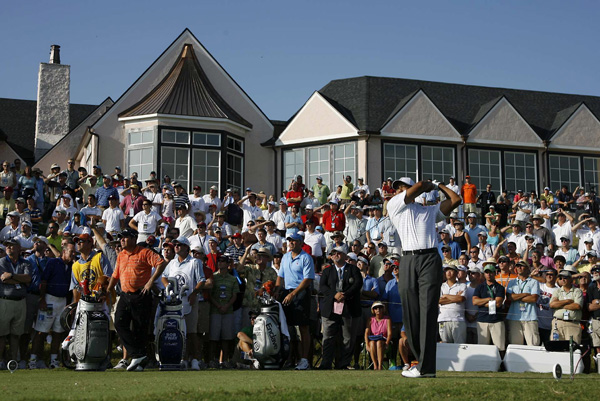 Tiger Woods started on the back nine and made birdies on 10 and 13.
