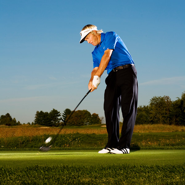 Midseason Tune-Up: 5 Drills to Sharpen Your Game                           Use my best practice keys to hone your skills in three critical scoring areas and finish off the season on a high note                                                       By Stuart Appleby                                                      How To Hit More Fairways                           You began the season driving the ball in the short stuff more times than not. Pars — and birdies — came in bunches.                                                      Now, in the midseason, you're hitting only two or three fairways per round. And you're missing them every which way — with hooks, slices, pulls and blocks.                                                      To finish the season strong you need to check out your alignment. For me, that's what straight driving is all about. If I'm not aligned correctly, then I have to make adjustments that are difficult to time, i.e. swing across the ball at the bottom because I'm aimed too far left at the top. There might be clubface issues to consider, but if you properly align your body and club at the target at address and then swing along the line you've chosen, your fairways-hit percentage will skyrocket.