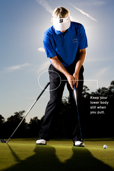 How To Avoid Three-Putting                                              You began the season draining everything you looked at inside 12 feet. You felt comfortable in your stance and trusted your stroke.                                              Here in midseason, you're three-putting like a 30-handicapper, and your stroke feels unbalanced and out-of-sync.                                              To finish the season strong, try to keep your body still. When I start missing putts, it's because something other than my shoulders is moving when I make my stroke. The more moving parts I have, the more likely one of them is going to throw my putterhead off line. I've played enough pro-ams over the years to know that this is your problem, too. The longer the putt, the worse the problem gets, which is why you're not getting your first putt close.                                              My Stroke Drill                                              Take your putting stance and anchor the grip of one of your wedges against the outside of your right thigh. Place the wedge so that the grip just rests against your thigh and make your stroke. This drill tells you instantly if you're guilty of turning your body toward the target when you putt (you'll feel the grip slide down your pant leg if you do). Turning like this creates a cut stroke and, depending on the angle of the face, pulls the putt left or cuts it right. Keep the wedge against your thigh and use shoulder power — not leg power — to stroke your putts.