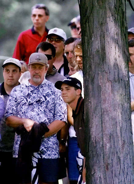 On 16 in the final round, Garcia gouged a blind 6-iron out of the trees to a spot just short of the green. Although Tiger would go on to take the win, Garcia's gleeful gallop-and-kick after the shot gave America its first lasting image of the brash young Spaniard.