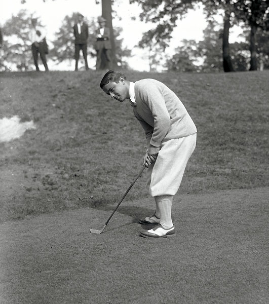 "Tied with Walter Hagen on the second hole of sudden death and faced with a horrible lie, Sarazen announced to the gallery, ""I'll put this one so close to the hole it'll break Walter's heart."" The Squire kept his word, knocking his ball to two feet and capturing his second straight PGA title."