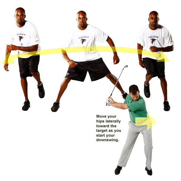 This is you if ...                           You're tall and thin, or have the ability to move in any direction without thinking about it. Side-to-side motion is your specialty.                           Your NFL Twin:                           Michael Jenkins                           2009 Stats: 50 catches, 635 yards, 1 TD                                                      HOW TO PUT HIP AGILITY TO WORK FOR YOU                           If you have lateral jumping ability like Michael, then use it to explode from your right leg onto your left leg during your downswing. Notice how I'm barely into my downswing and yet my left hip is already over my left leg. Be careful to move your hips and not just your knees. The move gets easier to make as you increase the strength and flexibility in your gluteus medius (hip muscle). It's an important muscle to work out for big hits.