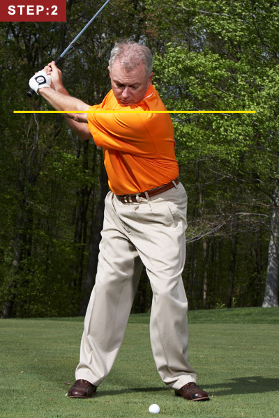 STEP 2                                                      Make a three-quarter backswing. If you don't know what that is, stop your swing when your hands reach shoulder height.