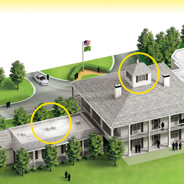 The Clubhouse                           The most coveted house in golf is a large but humble Southern-style building. It was built in 1845 when Augusta National was still an indigo plantation.                            At left is the Champions Locker room.  On the right is the Crow's Nest, where the U.S. Amateur winner stays.