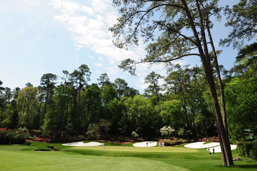 Augusta National Golf Club -- Augusta, Ga. -- No. 13: Par 5, 510 yards                           Its superior risk/reward options notwithstanding, in springtime, there cannot be a more beautiful inland hole on earth. Tall pines, banks of azaleas, Rae's Creek and those four striking framing bunkers will haunt your brain forever.