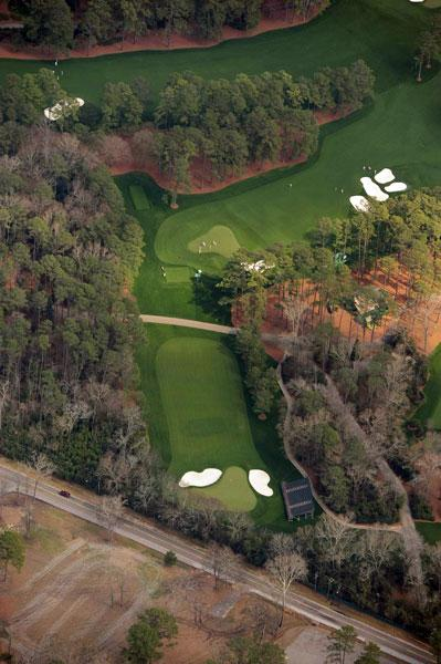 Top: Flowering Peach, the par-4, 350-yard, No. 3 at Augusta National. Bottom: Flowering Crab Apple, the par-3, 240-yard, No. 4 at Augusta National.