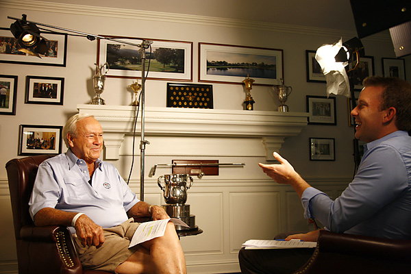 Among the memorable moments from our sit-down:                           Me: You've just come in from a long day on the course. What are you drinking?                           Palmer: (no hesitation) Ketel One on the rocks.                           Me: Wait, what what happened to the 'Arnold Palmer'?                           Palmer: I have one of those before I start.
