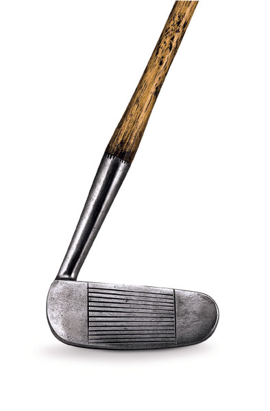 Club: Tom Stewart backwards putter                       Built: Late 1920s                        Maker: Tom Stewart                       Sale Price: $3,438                       Ellis: Simply looking at the wand makes you feel the passion and frustration Stewart must have felt on the greens to have created something as wacky as this.