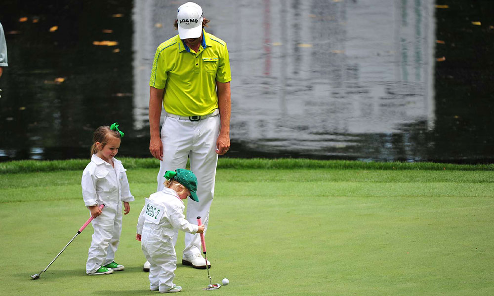 Aaron Baddeley brought his two daughters along for the fun.