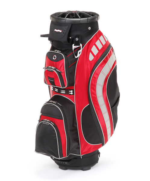 "Bag Boy, Revolver XL, ($190; Buy it Now)                           In addition to six pockets and a cart strap sleeve, Bag Boy's ""Clip-Lok"" technology promises more space for clubs (even those with oversize grips) and easier access to them. The seven-way top features extra-large slots with two Clip-Loks in each slot to secure clubs. The top also rotates 360 degrees so the desired club will always be front and center."