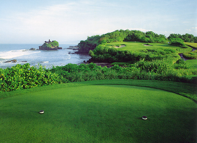 6. Nirwana Bali in Bali, Indonesia: This spiritual sounding, 15-year-old spread enjoys a stunning seaside locale on the Indonesian island of Bali. Blessed with remarkable variety, Nirwana Bali embraces deep valleys and dense forests as well as cliffs and beaches, with lush jungle vegetation framing many holes. Unforgettable is the par-3 7th, played over the rolling surf of the Indian Ocean to a diagonal green that well rewards those who risk a lot.